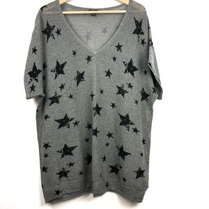 Torrid Star Print Knit Top Sweater 3x V-Neck